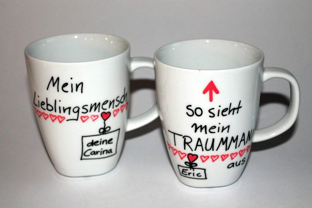 DIY, Basteln: Tassen bemalen in Liebesgeschenk, Geschenkideen und Wohnideen - DIYCarinchen