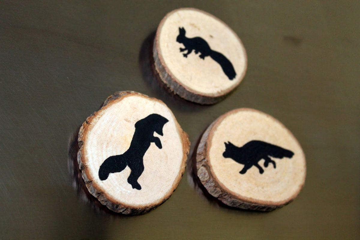 DIY Holzscheiben Magnete Fuchs und Eichhörnchen einfach selber machen