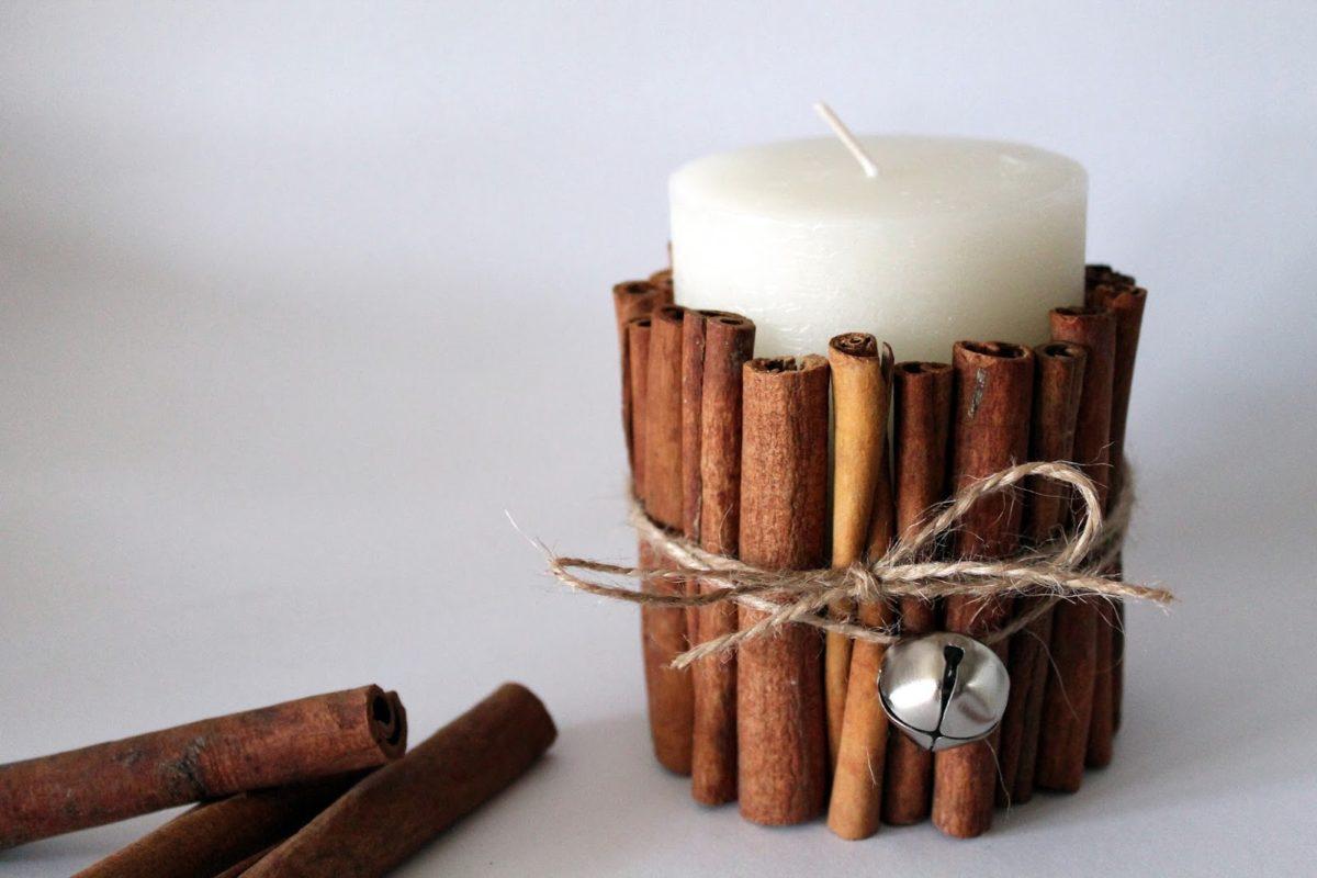 DIY Kerze mit Zimtstangen einfach selber machen