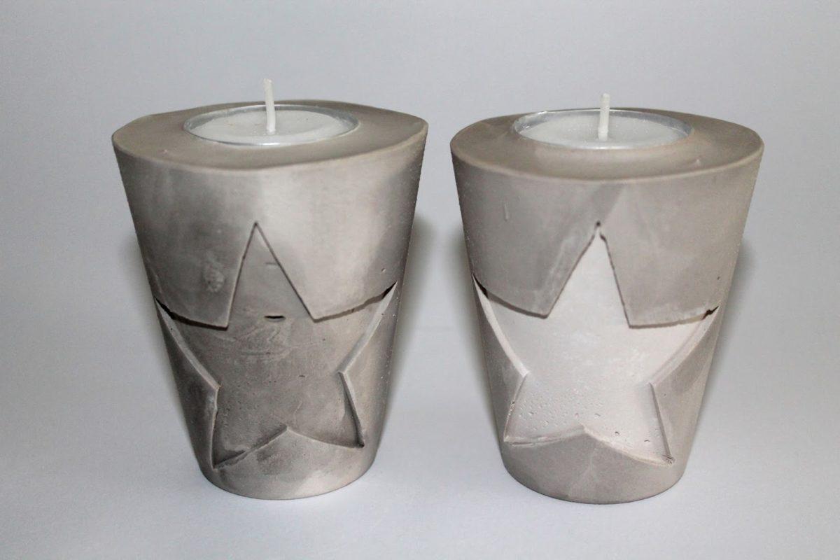 DIY Gips / Beton Teelichthalter Weihnachten ganz einfach selber machen - perfekte Geschenkidee zu Weihnachten. + Anleitung