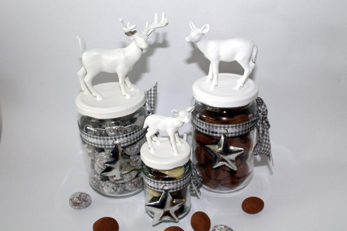 DIY Weihnachtsgläser / Vorratsgläser mit Hirschen und Rehen einfach selber machen