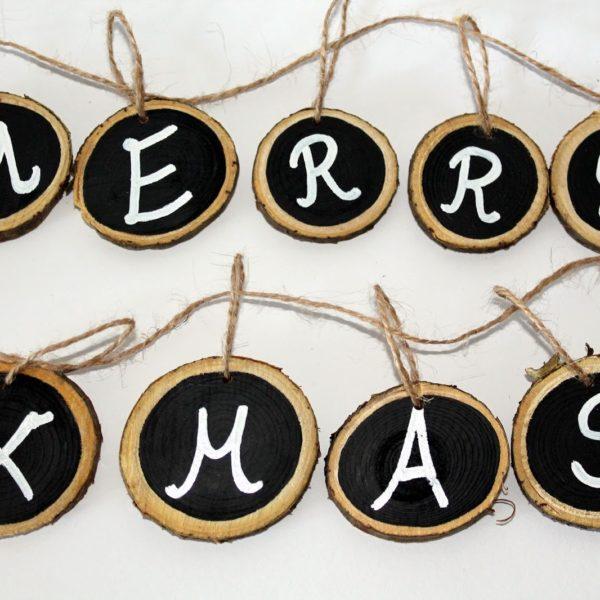 DIY Astscheiben Merry X-Mas Kette ganz einfach selber machen
