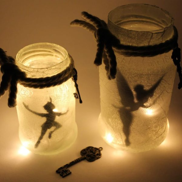 DIY Feenglas Tinkerbell / Peter Pan ganz einfach selber machen. Eine super Geschenkidee.