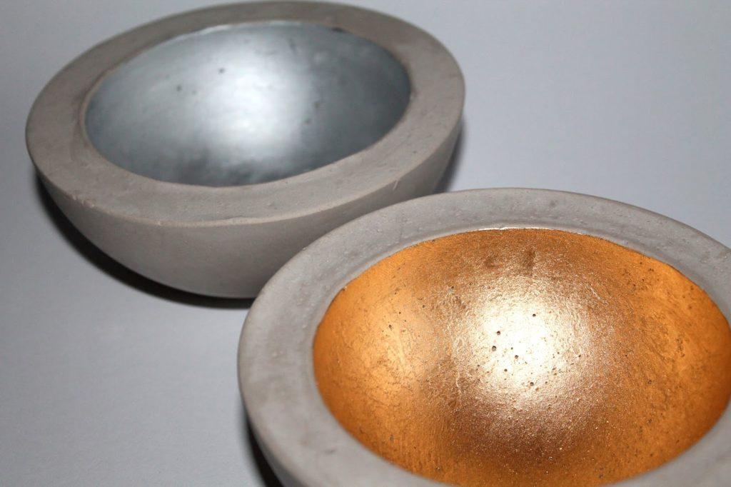 DIY, Basteln: Gips / Beton Schale in kupfer, silber und gold als Wohndekoration - DIYCarinchen