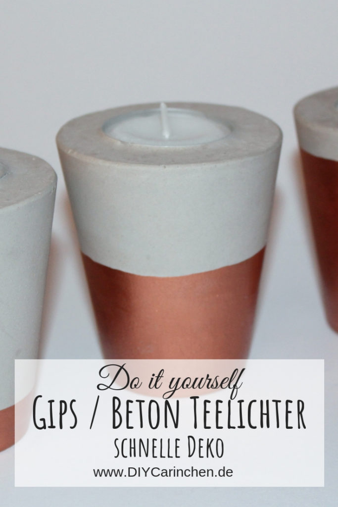DIY Gips / Beton Teelichter in Kupfer schnell und einfach selber machen - perfekt als Dekoration