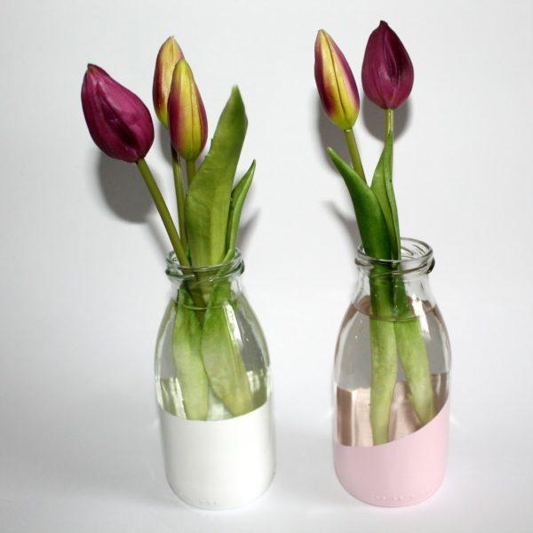 DIY Upcylcling / Recycling Vasen aus kleinen Milchflaschen einfach selber machen