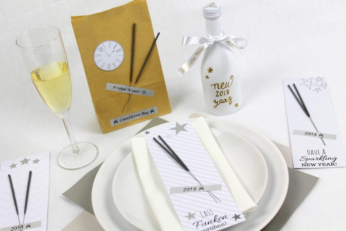 DIY 3 schnelle und einfache Bastelideen für Silvester: Silvester To Go, Countdownbag und Wunderkerzen {mit gratis Printable}