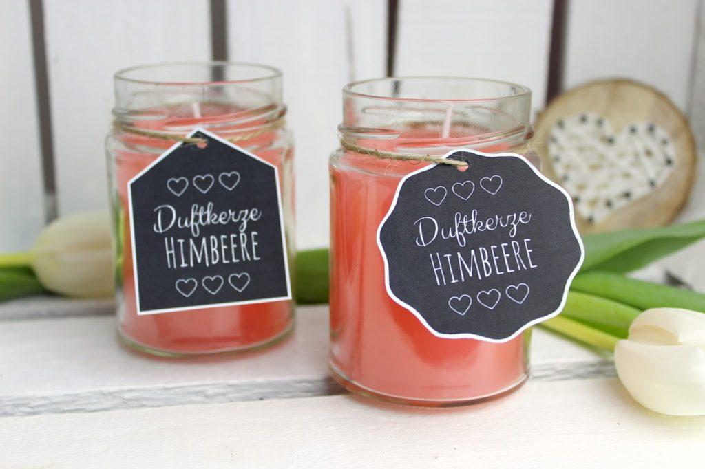 DIY süße Frühlingsdekoration: Himbeerkerzen in Konfitürengläsern selber machen {mit gratis Printable}