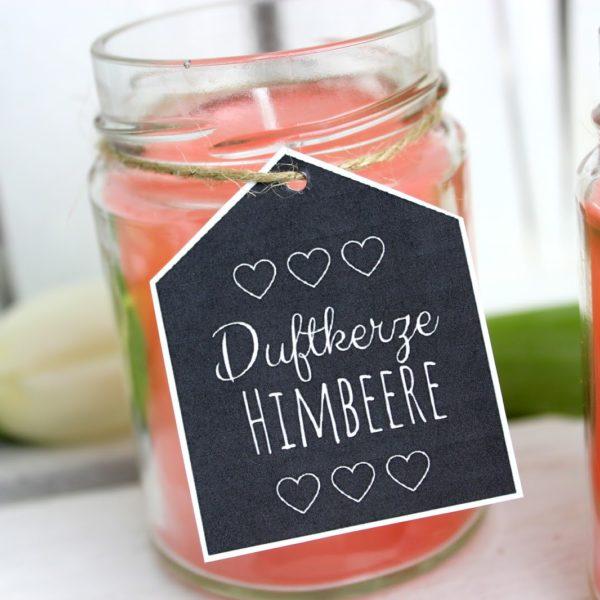 DIY Himbeerkerzen in Konfitürengläsern selber machen - süße Deko