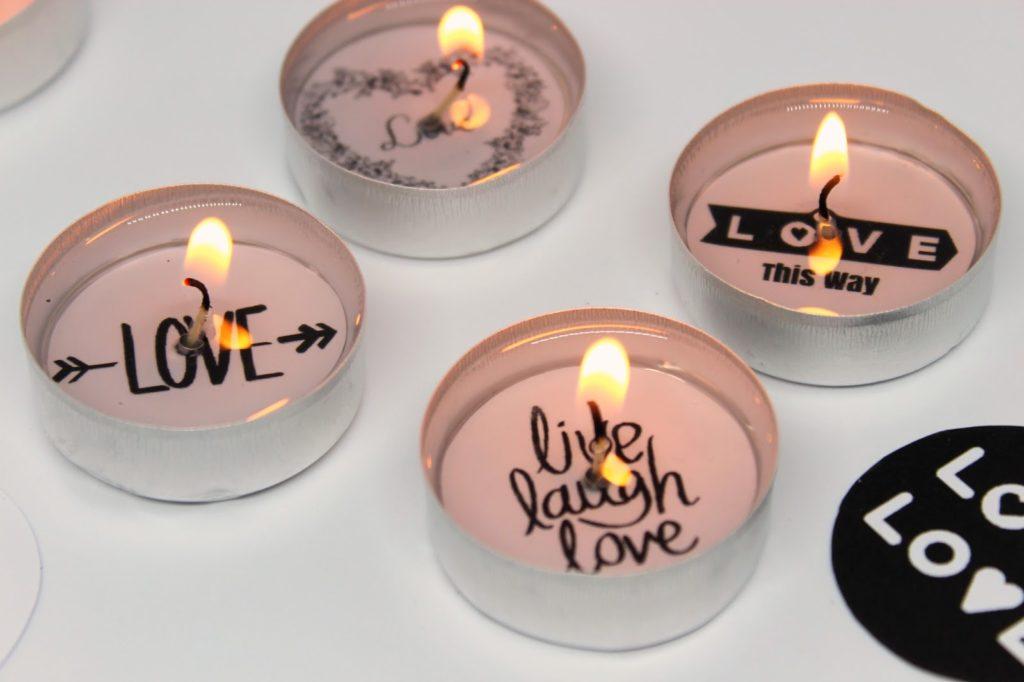 DIY, Basteln: Geschenk zum Valentinstag süße Teelichter mit Sprüchen, Geschenke und Geschenkideen - DIYCarinchen