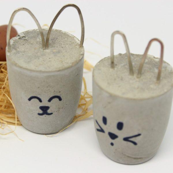 DIY Osterhasen aus Beton einfach selber machen - kleine Osterdeko