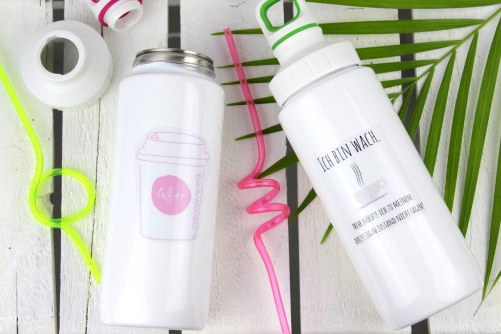DIY Trinkflaschen selbst gestalten und bedrucken - mit dieser einfachen Bastelanleitung klappt es + Vorlage