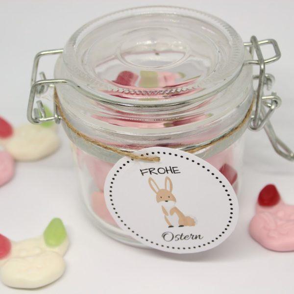 DIY Ostergeschenk im Glas mit süßen Hasen + kostenlose Vorlage