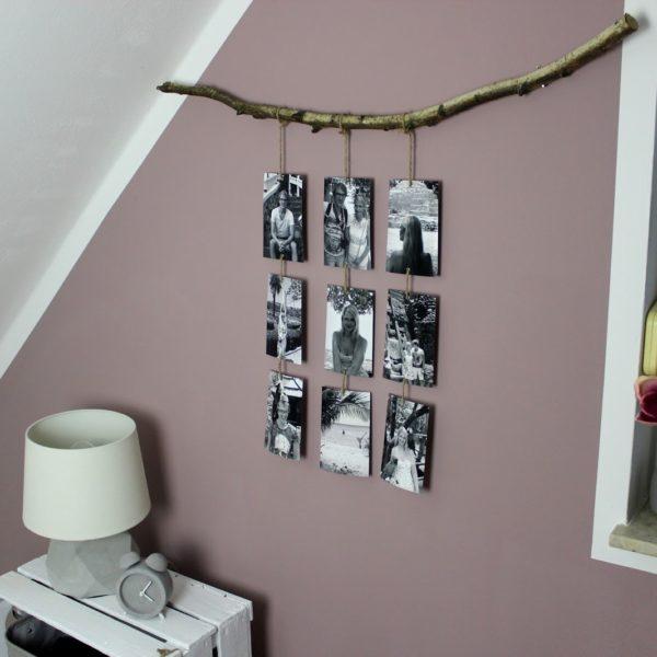 DIY origineller Bilderrahmen ganz einfach selber machen - Fotos an einem Ast