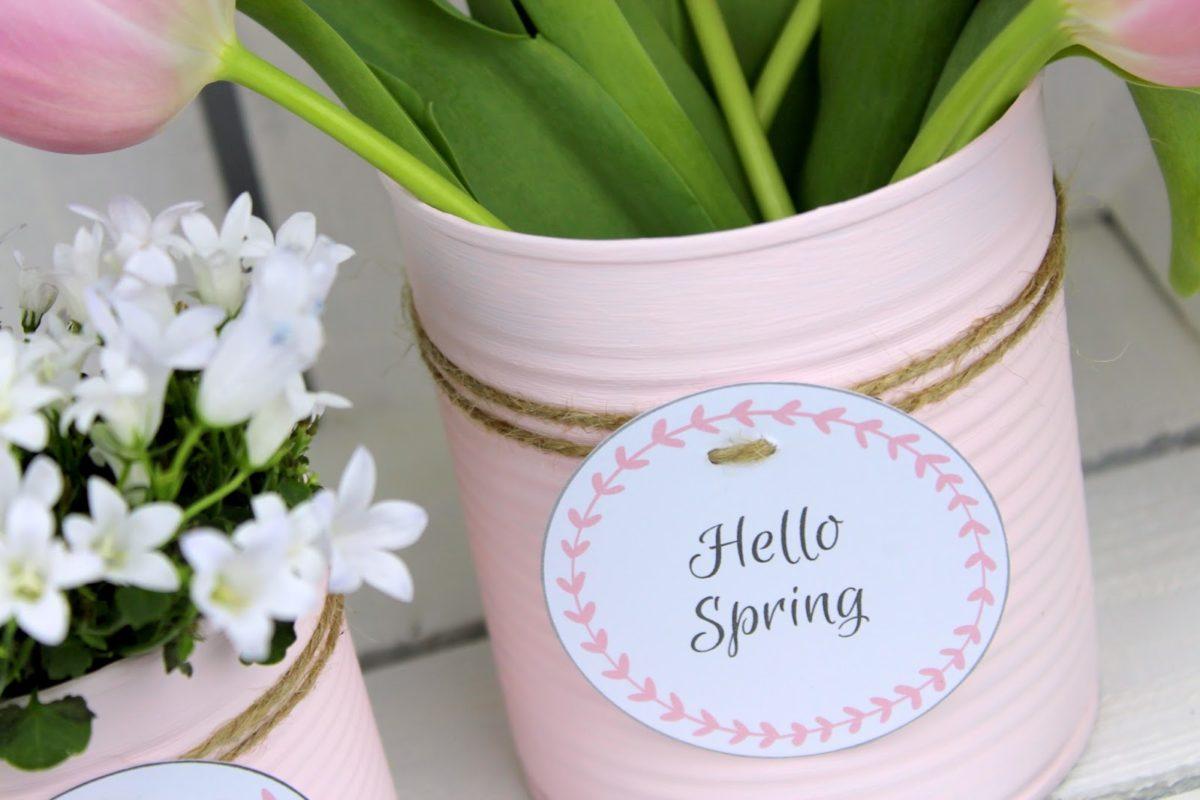 DIY Recycling Bastelidee: Blumentopf aus einer Konservendose in zartem rosa + kostenlosem Etikett