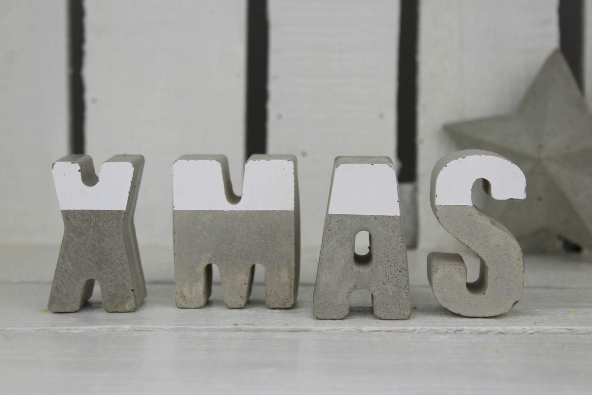 XMAS Beton Buchstaben Weihnachten