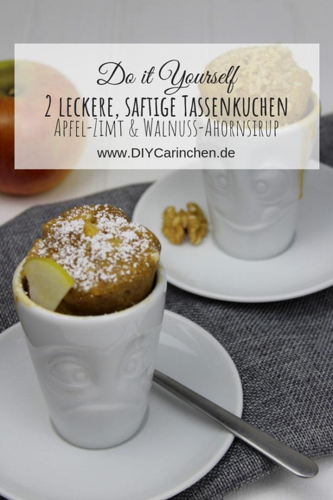 Rezept: 2 super leckere, saftige Tassenkuchen in unter 5 Minuten aus der Mikrowelle selber machen - Apfel-Zimt und Walnuss mit Ahornsirup