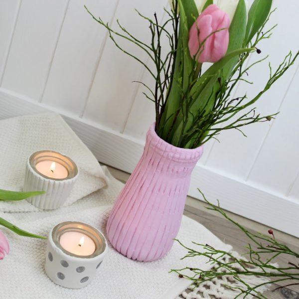 Vase, Teelicht aus Modelliermasse