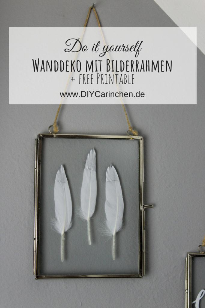 DIY: coole Wanddeko mit aufklappbaren Bilderrahmen - verziert mit Federn und Handlettering
