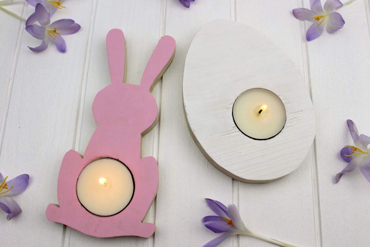 Osterdeko Teelichter Hase und Ei