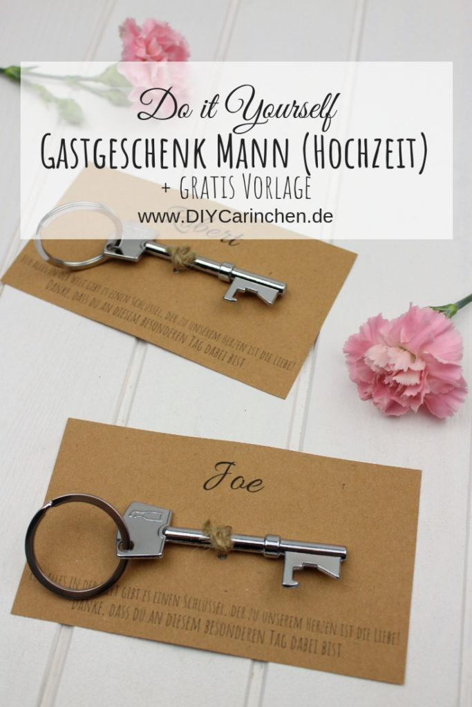 DIY - personalisiertes Gastgeschenk zur Hochzeit - speziell für Männer + kostenlose Vorlage