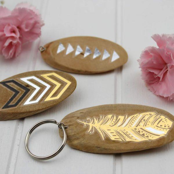 Schlüsselanhänger, Klebetattoo, Holz, Geschenk