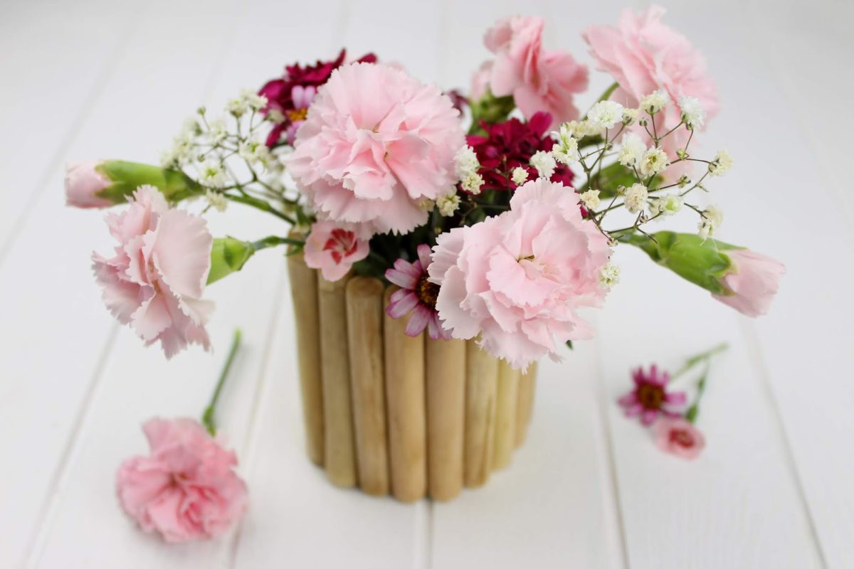 Deko, Vase, Holz, Blumen