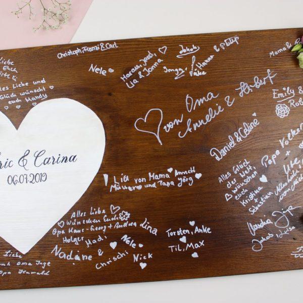 Gästebuch, Hochzeit, Holz