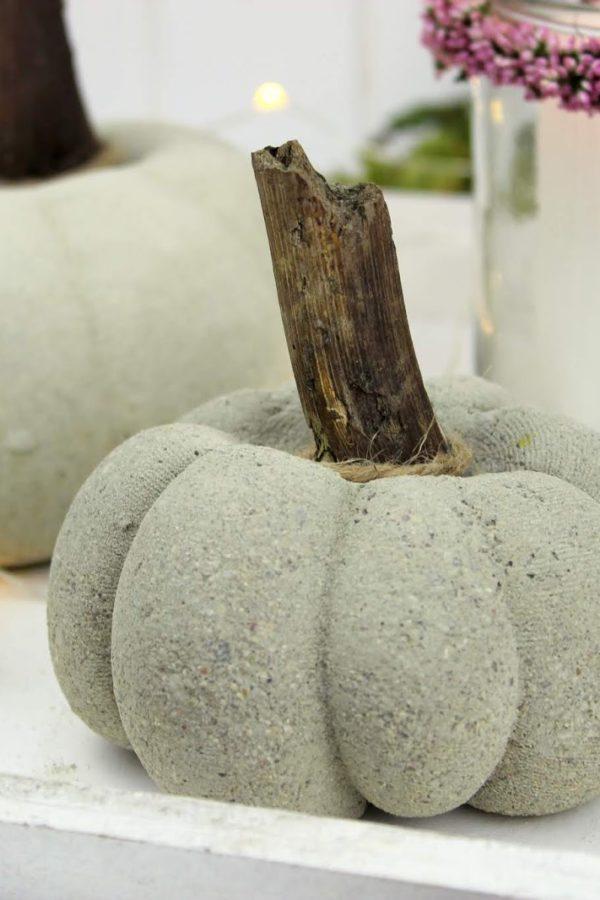 Beton Kürbis, Herbstdeko, Naturmaterialien