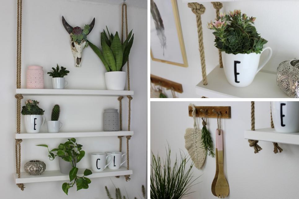 Hängeregal, Deko, Blumen, Pflanzen, Becher