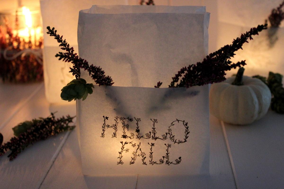 DIY- Windlichter aus Brottüten mit Naturmaterialien