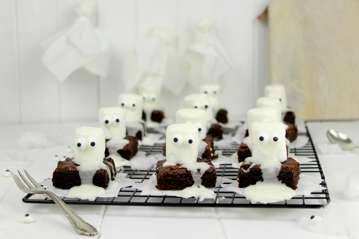 Rezept Halloween Geister-Brownies