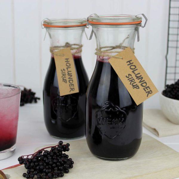 Holunderblütensirup, Flaschen, Getränk, Glas, Beeren