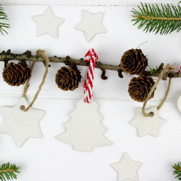 Christbaumanhänger Stern, Herz, Tannenbaum aus Modelliermasse