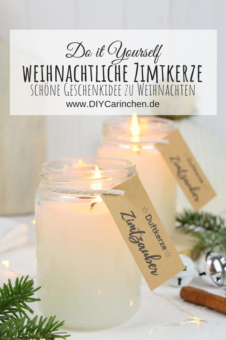 weihnachtliche Zimtkerze als Geschenk in einem Einmachglas