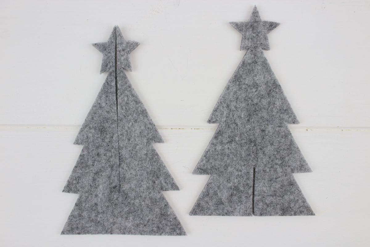 graue selbstgemachte 3D Tannenbäume aus Filz