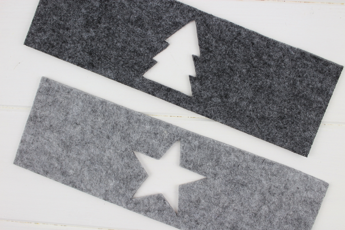 weihnachtliche Windlichter aus Filz und Einmachgläsern