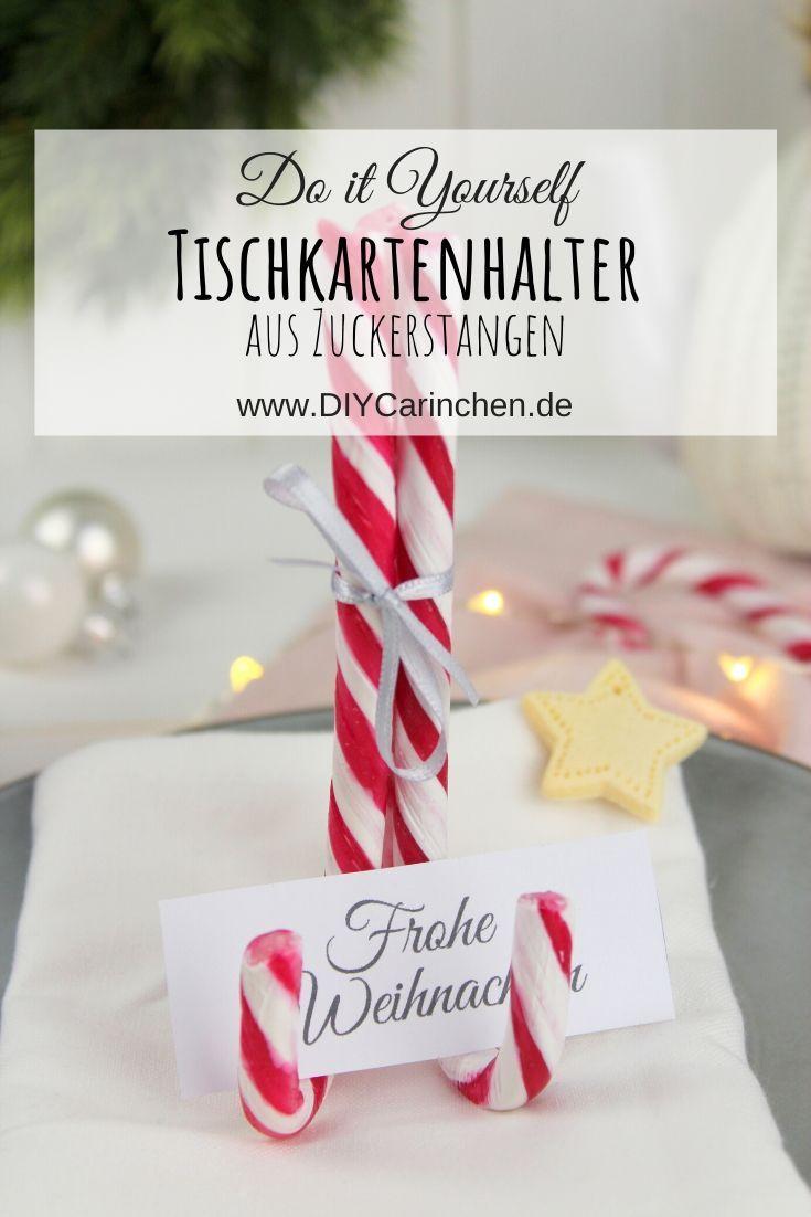 weihnachtliche Tischkartenhalter aus Zuckerstangen