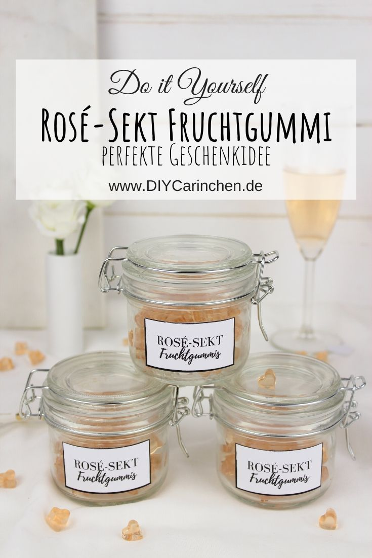 selbstgemachte Rosé-Sekt Fruchtgummis / Gummibärchen in Herzform