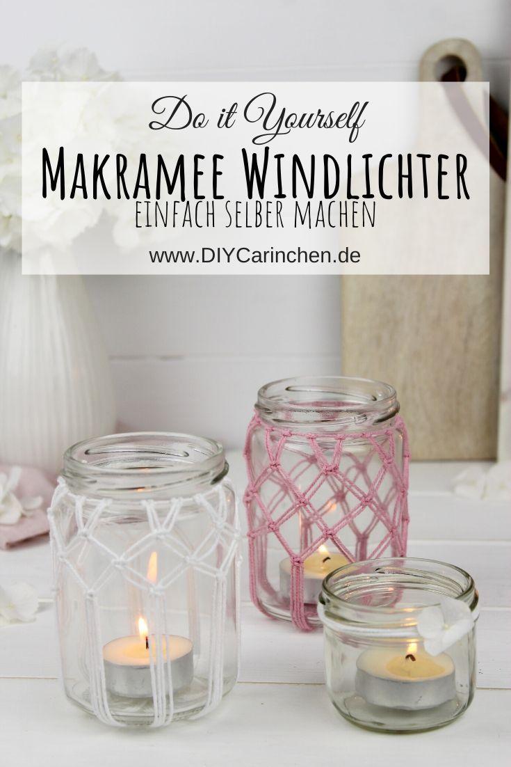 DIY Makramee Windlichter Kreuzknoten knüpfen