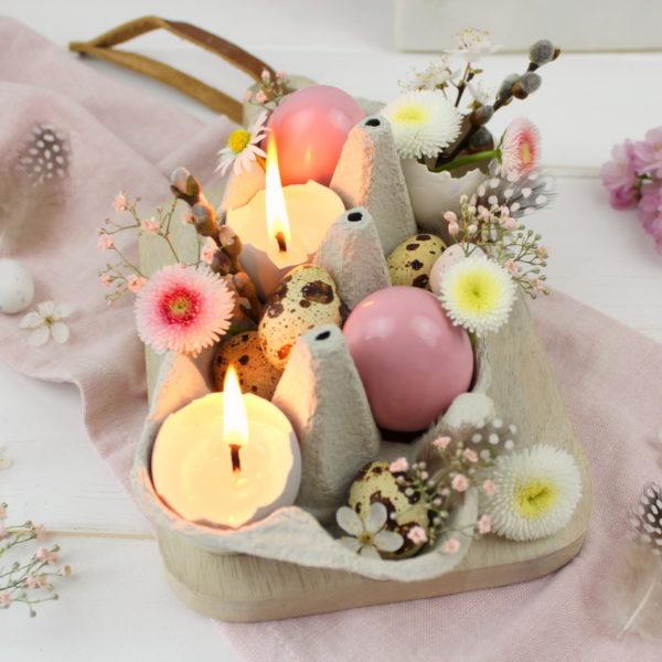 DIY selbstgemachte Osterdeko / Ostereier Kerze / Ostereier Vase und angesprühte Ostereier