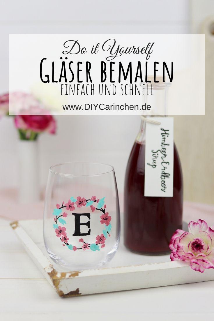 DIY bemalte Trinkgläser und selbstgemachtet Himbeer-Erdbeer-Sirup