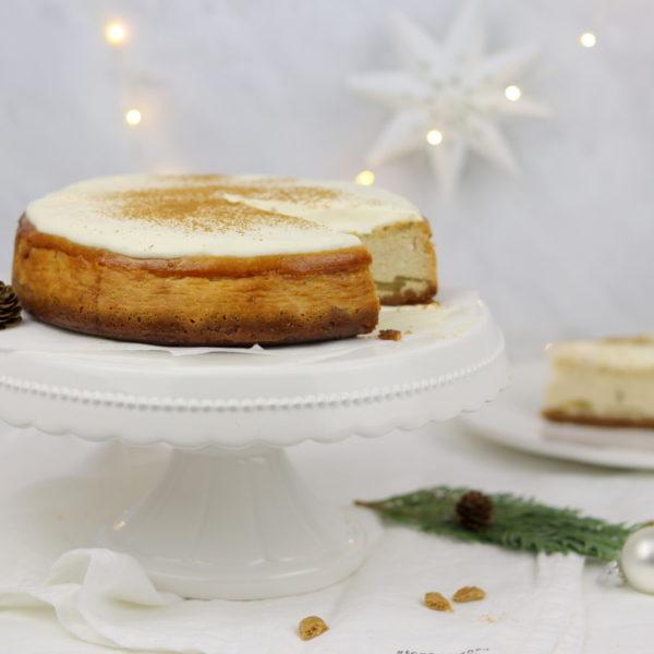 Rezept Kuchen: weihnachtlicher Apfel-Zimt-Cheesecake mit Spekulatiusboden