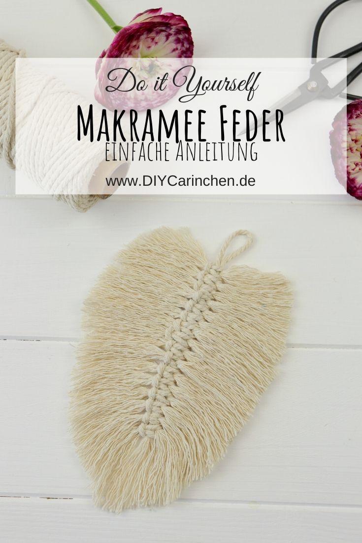 DIY - selbstgemachte Makramee Feder aus Makramee Garn