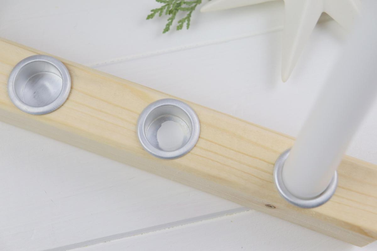 DIY - selbstgemachter Kerzenständer / Kerzenhalter aus Holz mit Stabkerzen