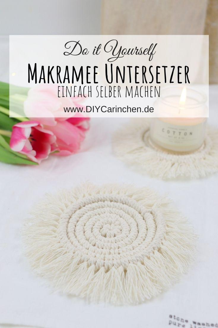 DIY selbstgemachte Makramee Untersetzer / Macrame Coaster