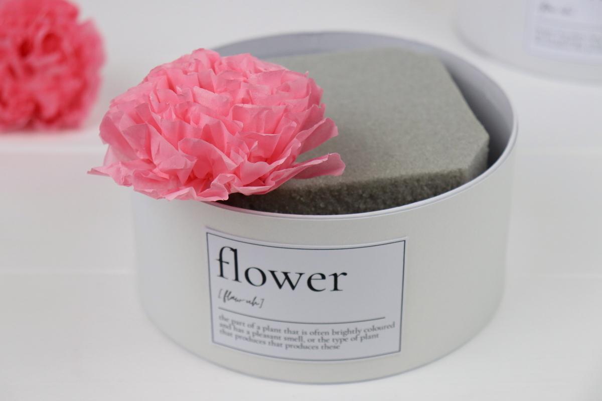 DIY selbstgemachte Flowerbox / Blumenbox / Rosenbox mit Blumen aus Papier (Blumenseide)