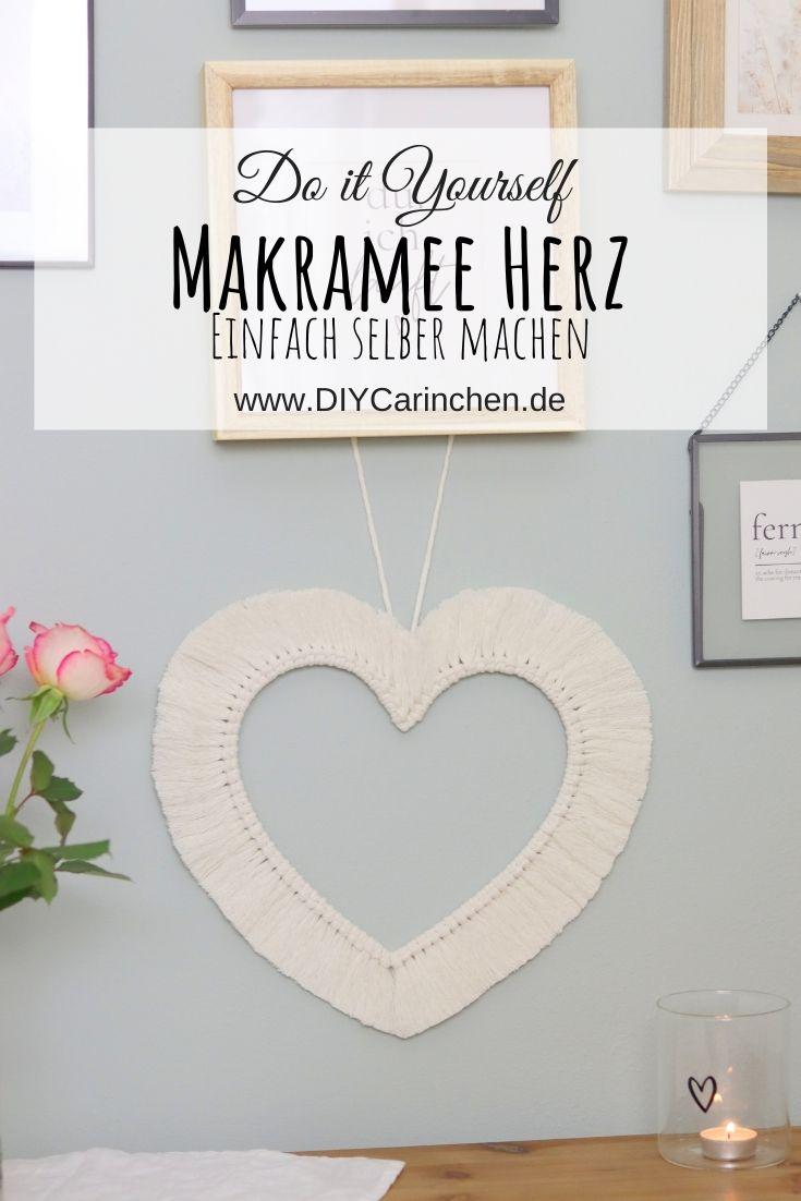 DIY selbstgemachtes Makramee Herz