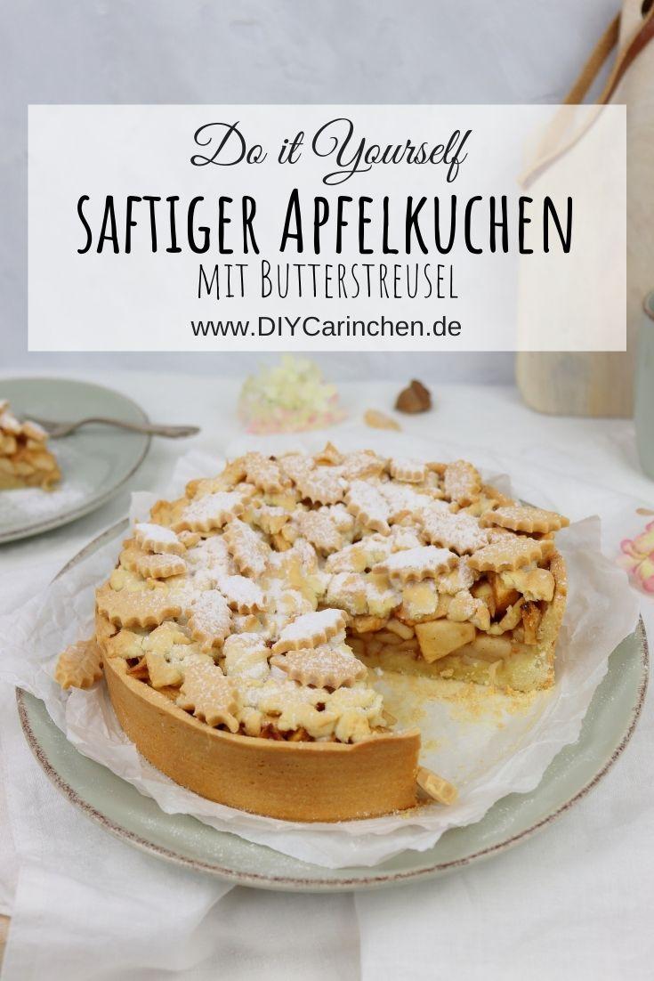 Rezept - saftiger, leckerer, herbstlicher Apfelkuchen mit Butterbröseln