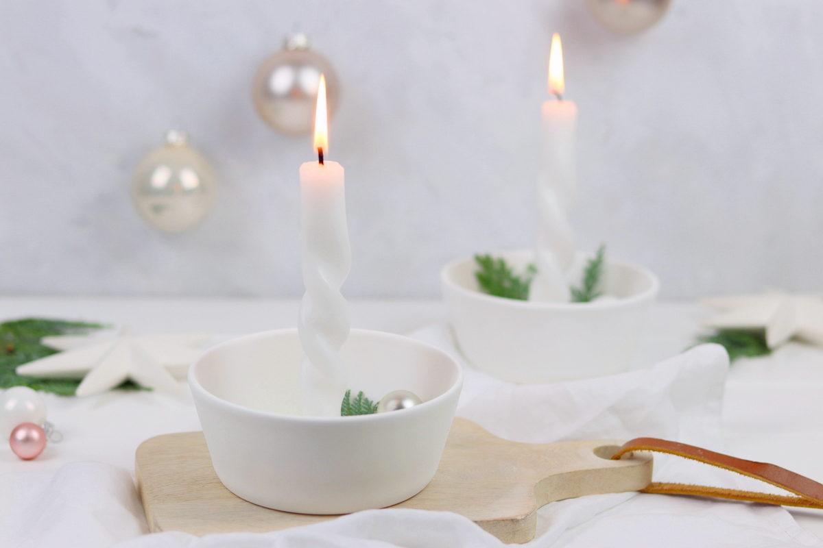 DIY selbstgemachter Kerzenständer im skandinavischen Stil mit Anleitung zum Kerzen drehen
